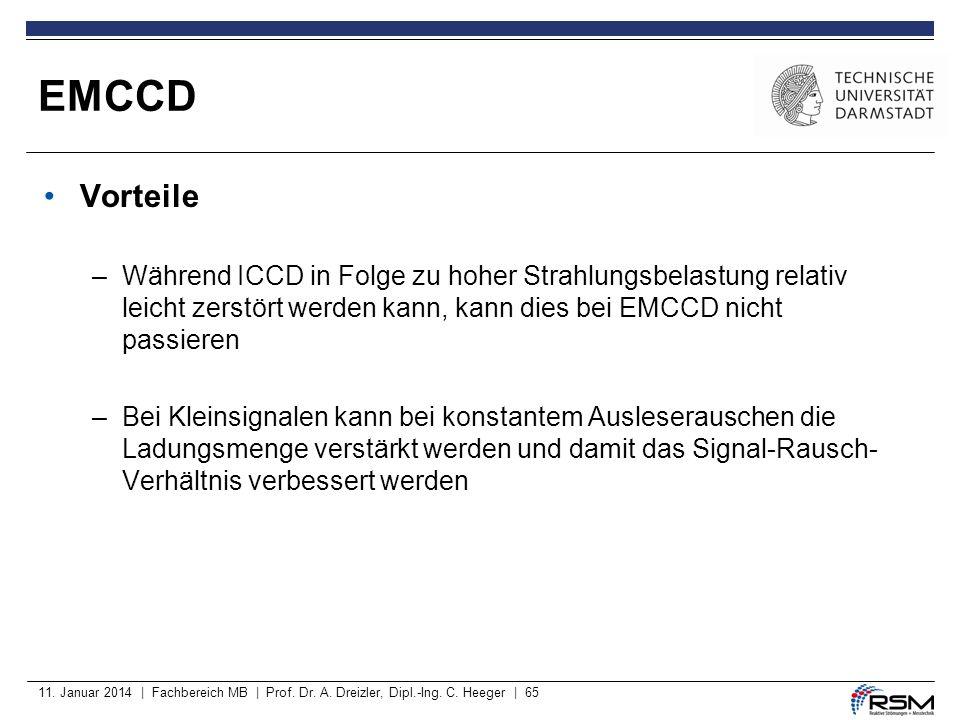 11. Januar 2014 | Fachbereich MB | Prof. Dr. A. Dreizler, Dipl.-Ing. C. Heeger | 65 Vorteile –Während ICCD in Folge zu hoher Strahlungsbelastung relat