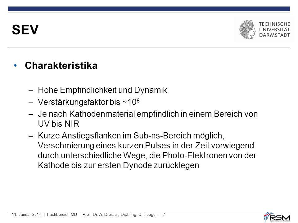 11. Januar 2014 | Fachbereich MB | Prof. Dr. A. Dreizler, Dipl.-Ing. C. Heeger | 7 Charakteristika –Hohe Empfindlichkeit und Dynamik –Verstärkungsfakt