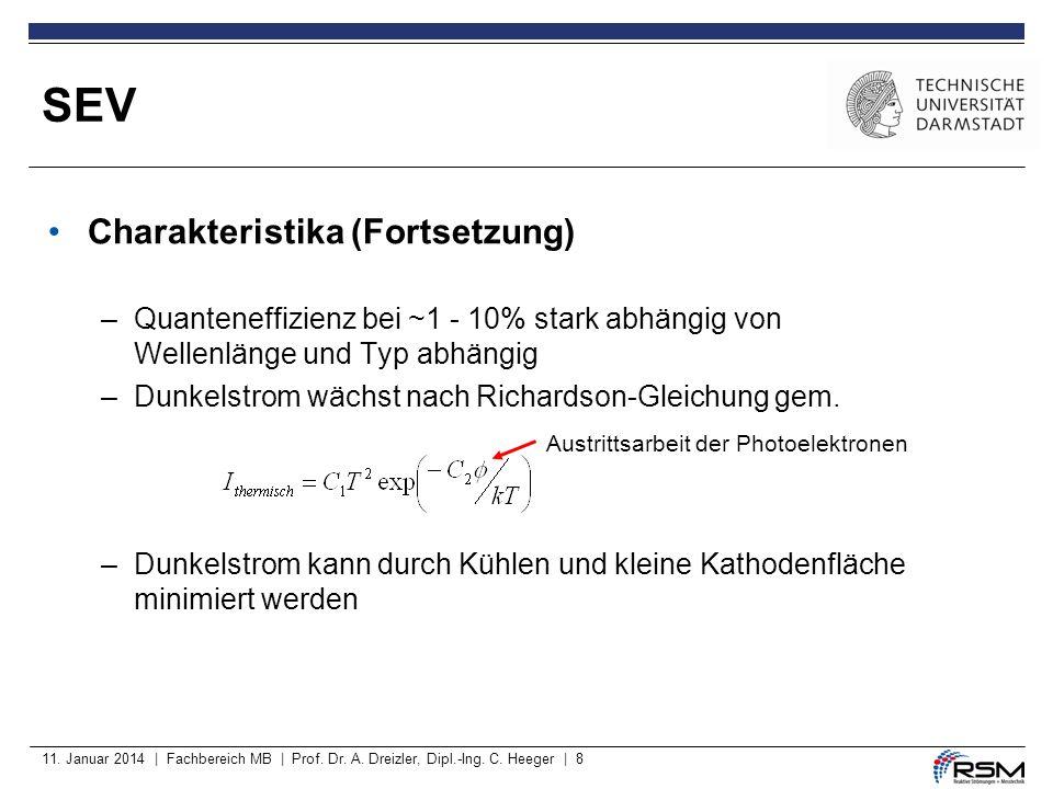 11. Januar 2014 | Fachbereich MB | Prof. Dr. A. Dreizler, Dipl.-Ing. C. Heeger | 8 Charakteristika (Fortsetzung) –Quanteneffizienz bei ~1 - 10% stark
