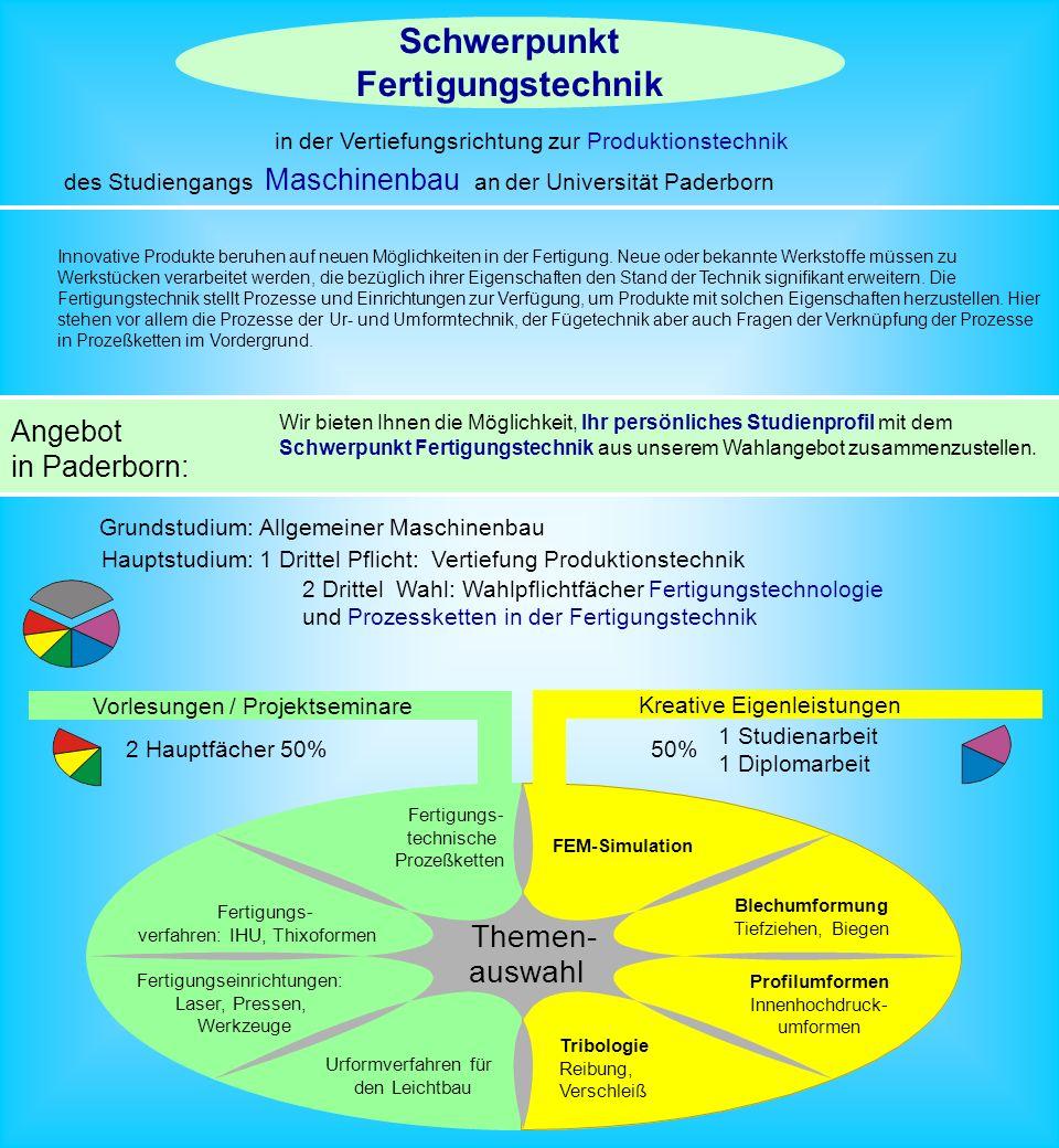 Schwerpunkt Fertigungstechnik des Studiengangs Maschinenbau an der Universität Paderborn Angebot in Paderborn: Wir bieten Ihnen die Möglichkeit, Ihr persönliches Studienprofil mit dem Schwerpunkt Fertigungstechnik aus unserem Wahlangebot zusammenzustellen.