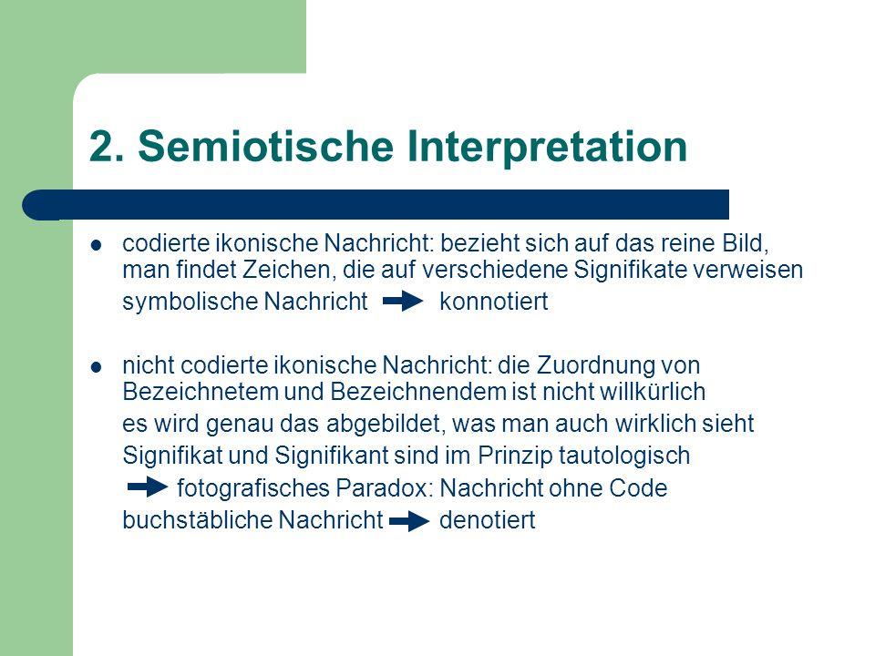 2. Semiotische Interpretation codierte ikonische Nachricht: bezieht sich auf das reine Bild, man findet Zeichen, die auf verschiedene Signifikate verw