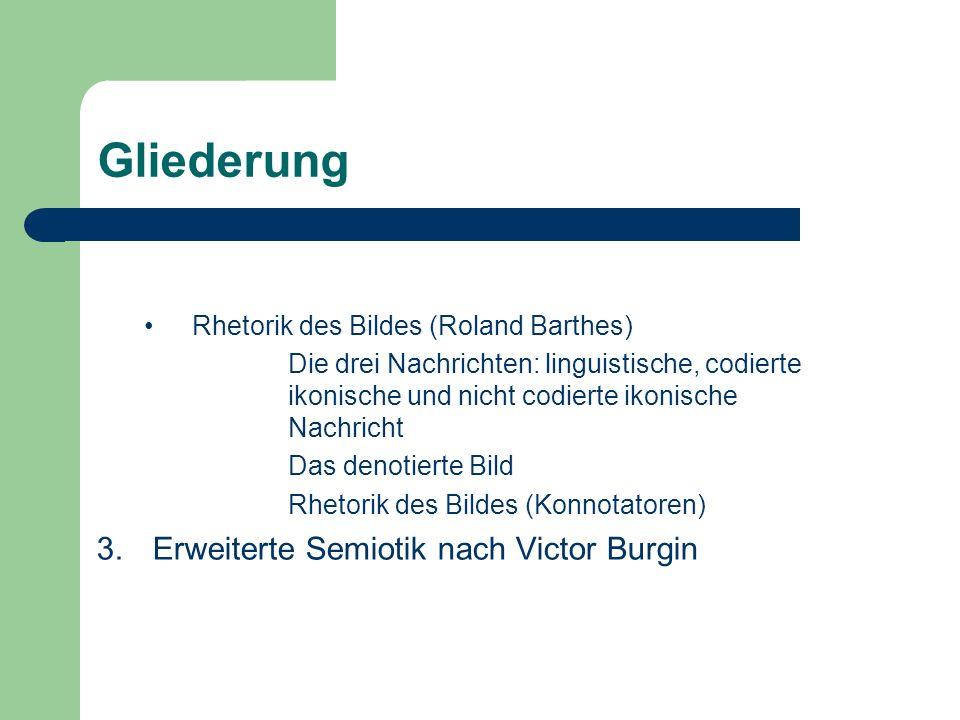 Gliederung Rhetorik des Bildes (Roland Barthes) Die drei Nachrichten: linguistische, codierte ikonische und nicht codierte ikonische Nachricht Das den