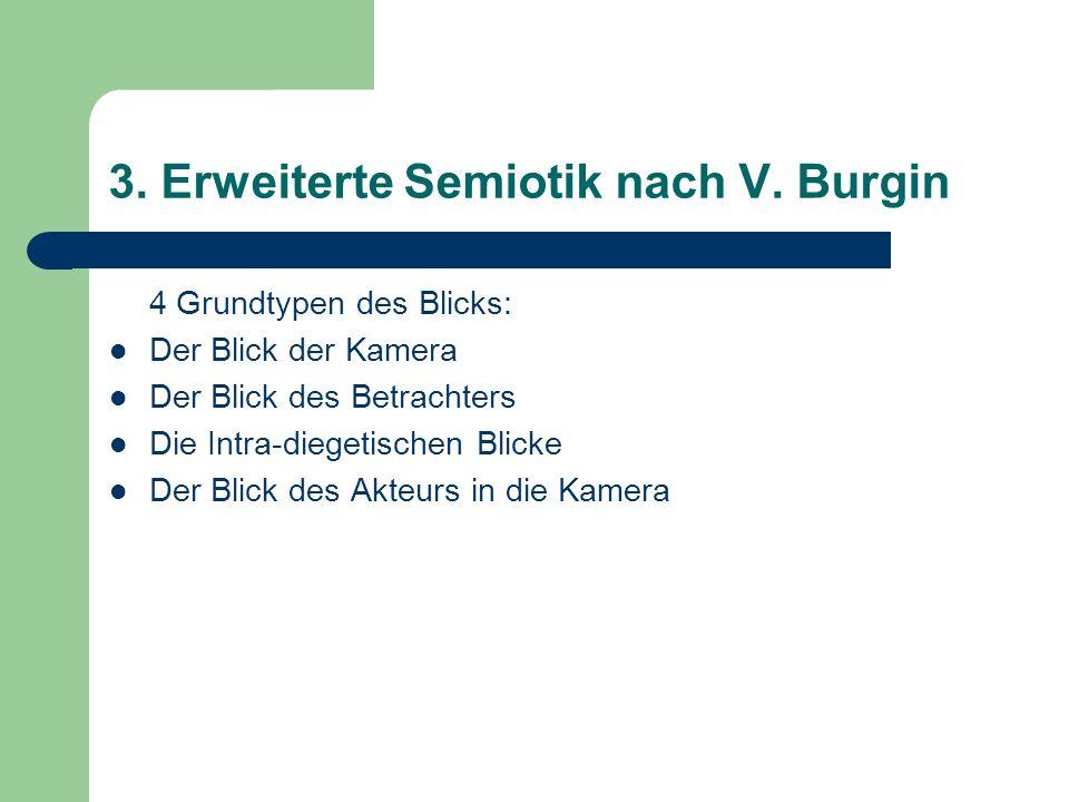 3. Erweiterte Semiotik nach V. Burgin 4 Grundtypen des Blicks: Der Blick der Kamera Der Blick des Betrachters Die Intra-diegetischen Blicke Der Blick