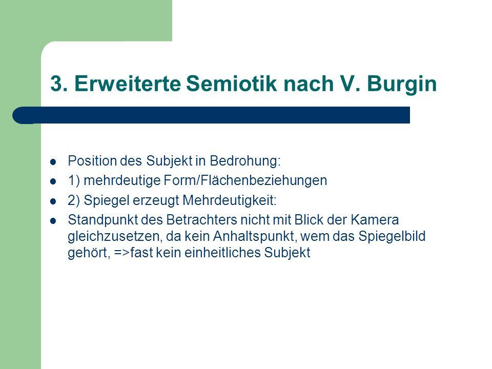 3. Erweiterte Semiotik nach V. Burgin Position des Subjekt in Bedrohung: 1) mehrdeutige Form/Flächenbeziehungen 2) Spiegel erzeugt Mehrdeutigkeit: Sta