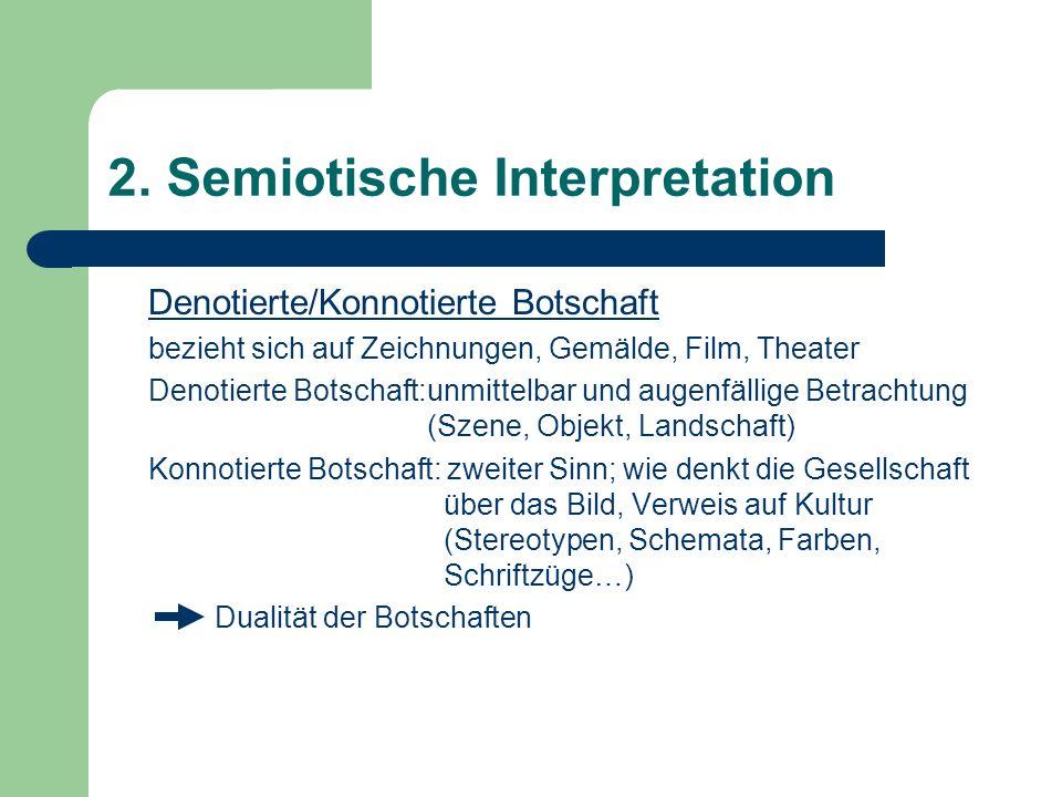 2. Semiotische Interpretation Denotierte/Konnotierte Botschaft bezieht sich auf Zeichnungen, Gemälde, Film, Theater Denotierte Botschaft:unmittelbar u