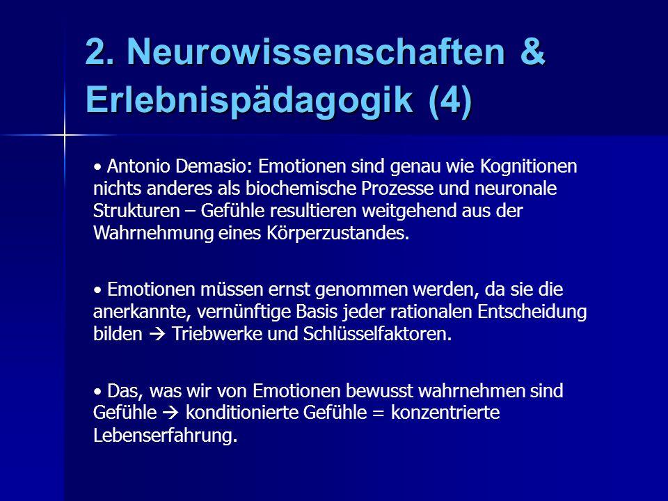 2. Neurowissenschaften & Erlebnispädagogik (4) Antonio Demasio: Emotionen sind genau wie Kognitionen nichts anderes als biochemische Prozesse und neur