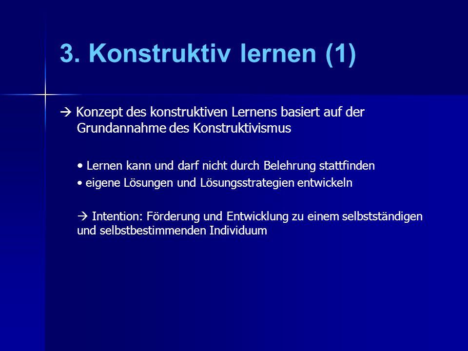 3. Konstruktiv lernen (1) Konzept des konstruktiven Lernens basiert auf der Grundannahme des Konstruktivismus Lernen kann und darf nicht durch Belehru
