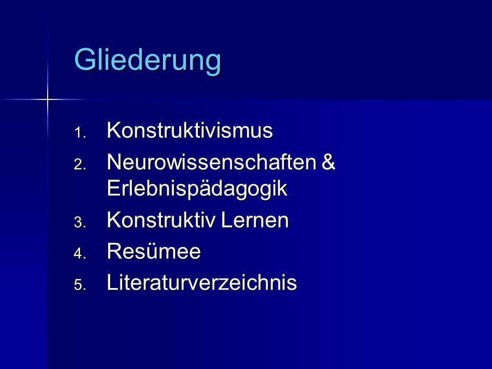 Gliederung 1.Konstruktivismus 2. Neurowissenschaften & Erlebnispädagogik 3.