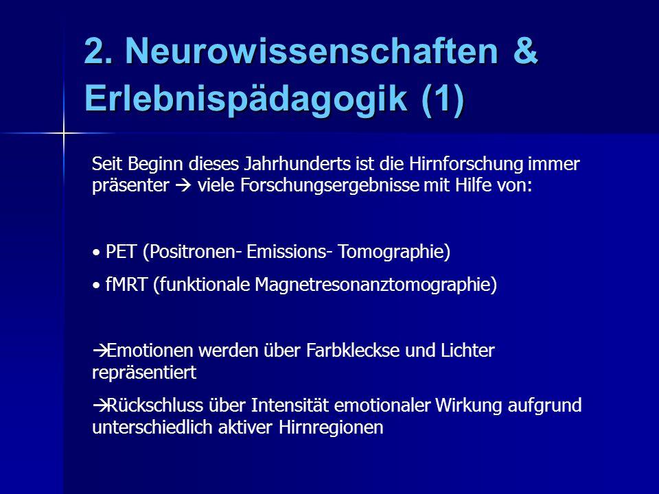 2. Neurowissenschaften & Erlebnispädagogik (1) Seit Beginn dieses Jahrhunderts ist die Hirnforschung immer präsenter viele Forschungsergebnisse mit Hi