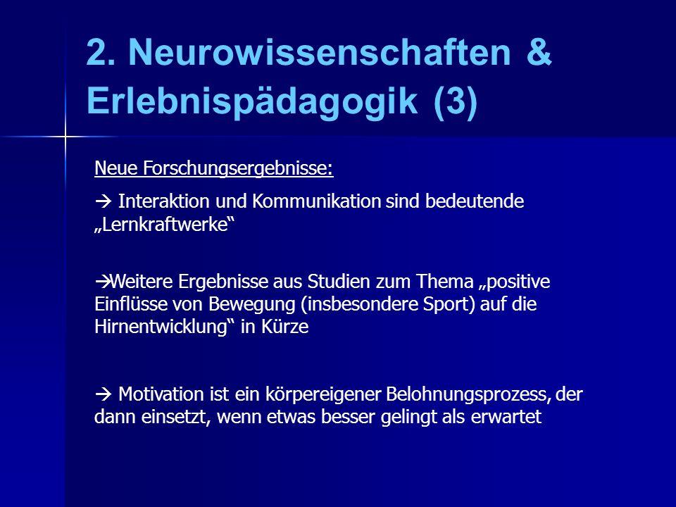 2. Neurowissenschaften & Erlebnispädagogik (3) Neue Forschungsergebnisse: Interaktion und Kommunikation sind bedeutende Lernkraftwerke Weitere Ergebni