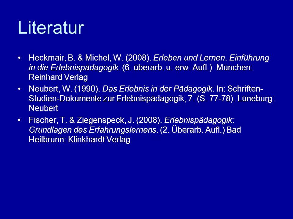Literatur Heckmair, B. & Michel, W. (2008). Erleben und Lernen. Einführung in die Erlebnispädagogik. (6. überarb. u. erw. Aufl.) München: Reinhard Ver