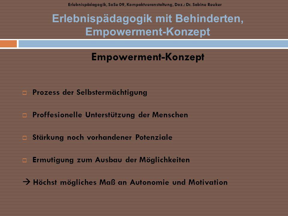 Empowerment-Konzept Prozess der Selbstermächtigung Proffesionelle Unterstützung der Menschen Stärkung noch vorhandener Potenziale Ermutigung zum Ausba