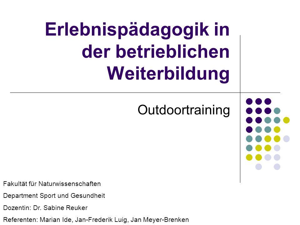 Erlebnispädagogik in der betrieblichen Weiterbildung Outdoortraining Fakultät für Naturwissenschaften Department Sport und Gesundheit Dozentin: Dr. Sa