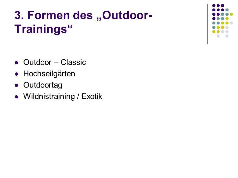 3. Formen des Outdoor- Trainings Outdoor – Classic Hochseilgärten Outdoortag Wildnistraining / Exotik