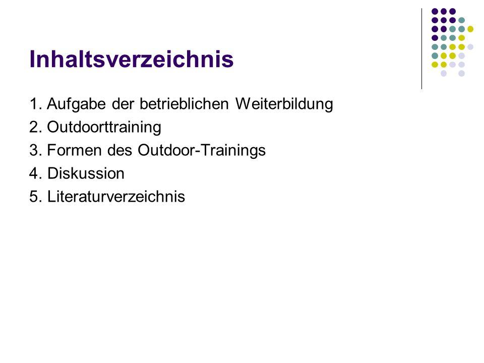 Inhaltsverzeichnis 1. Aufgabe der betrieblichen Weiterbildung 2. Outdoorttraining 3. Formen des Outdoor-Trainings 4.Diskussion 5.Literaturverzeichnis