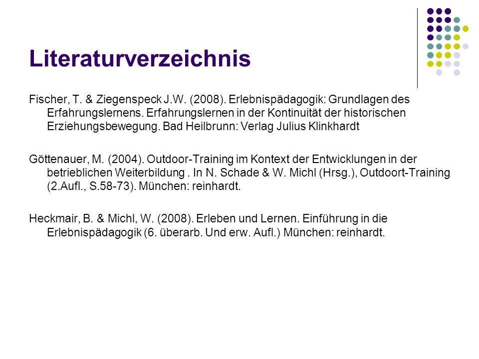 Literaturverzeichnis Fischer, T. & Ziegenspeck J.W. (2008). Erlebnispädagogik: Grundlagen des Erfahrungslernens. Erfahrungslernen in der Kontinuität d