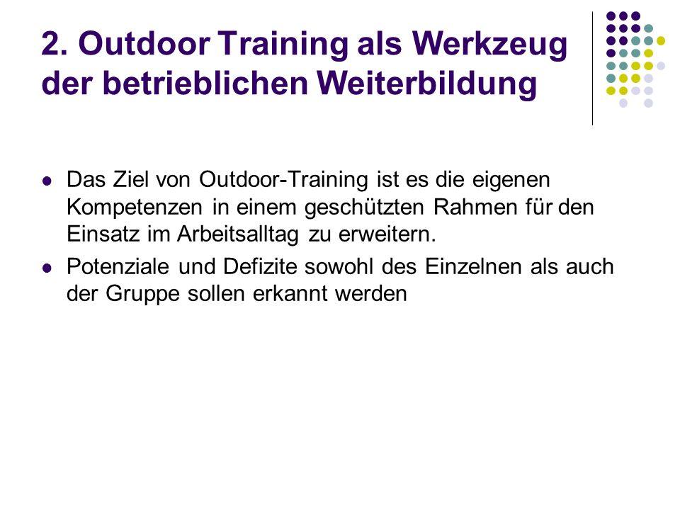 2. Outdoor Training als Werkzeug der betrieblichen Weiterbildung Das Ziel von Outdoor-Training ist es die eigenen Kompetenzen in einem geschützten Rah