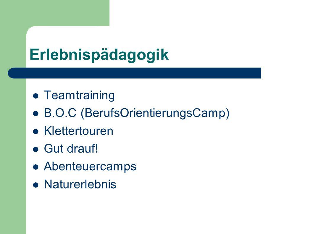 Erlebnispädagogik Teamtraining B.O.C (BerufsOrientierungsCamp) Klettertouren Gut drauf! Abenteuercamps Naturerlebnis
