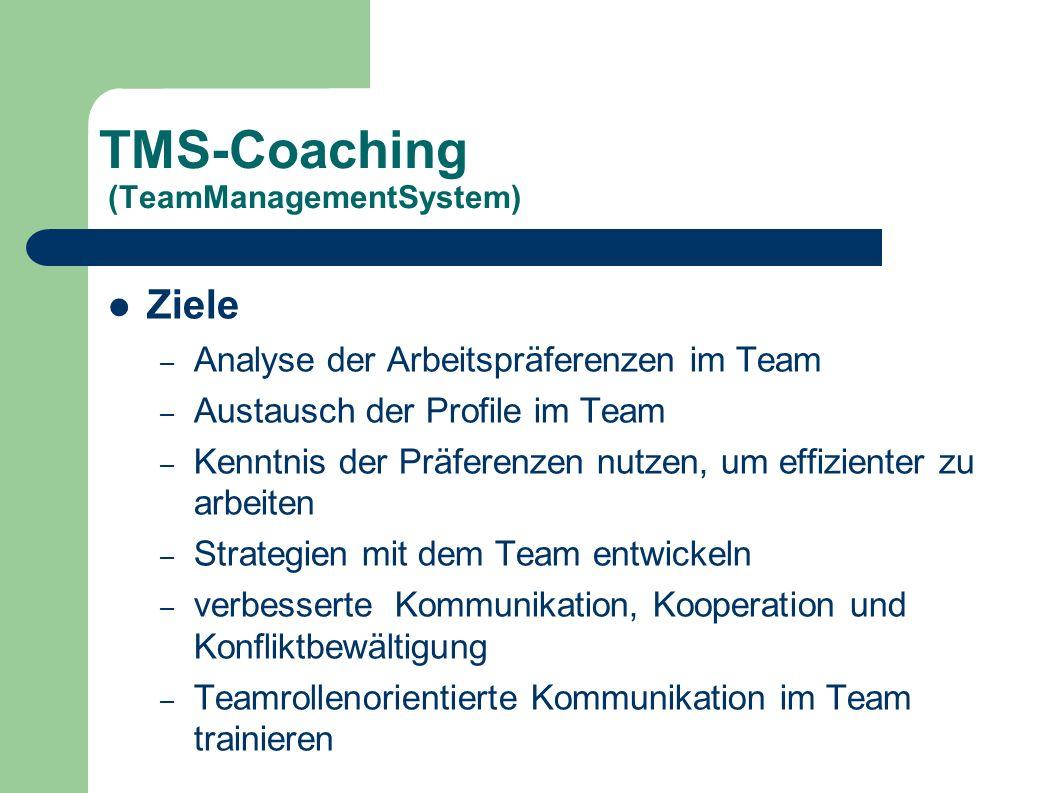 TMS-Coaching (TeamManagementSystem) Ziele – Analyse der Arbeitspräferenzen im Team – Austausch der Profile im Team – Kenntnis der Präferenzen nutzen,