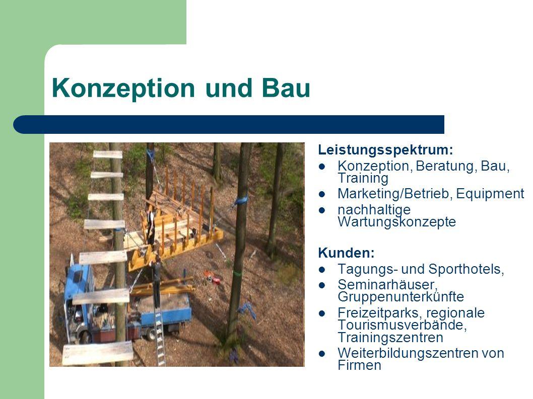 Konzeption und Bau Leistungsspektrum: Konzeption, Beratung, Bau, Training Marketing/Betrieb, Equipment nachhaltige Wartungskonzepte Kunden: Tagungs- u
