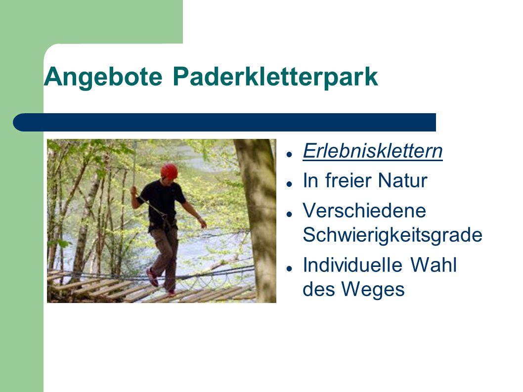 Angebote Paderkletterpark Erlebnisklettern In freier Natur Verschiedene Schwierigkeitsgrade Individuelle Wahl des Weges