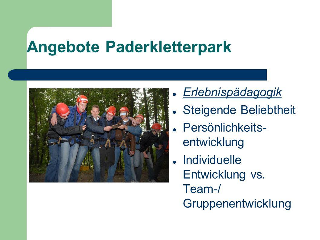 Angebote Paderkletterpark Erlebnispädagogik Steigende Beliebtheit Persönlichkeits- entwicklung Individuelle Entwicklung vs. Team-/ Gruppenentwicklung