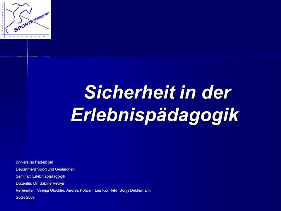 Sicherheit in der Erlebnispädagogik Sicherheit in der Erlebnispädagogik Universität Paderborn Department Sport und Gesundheit Seminar: Erlebnispädagog