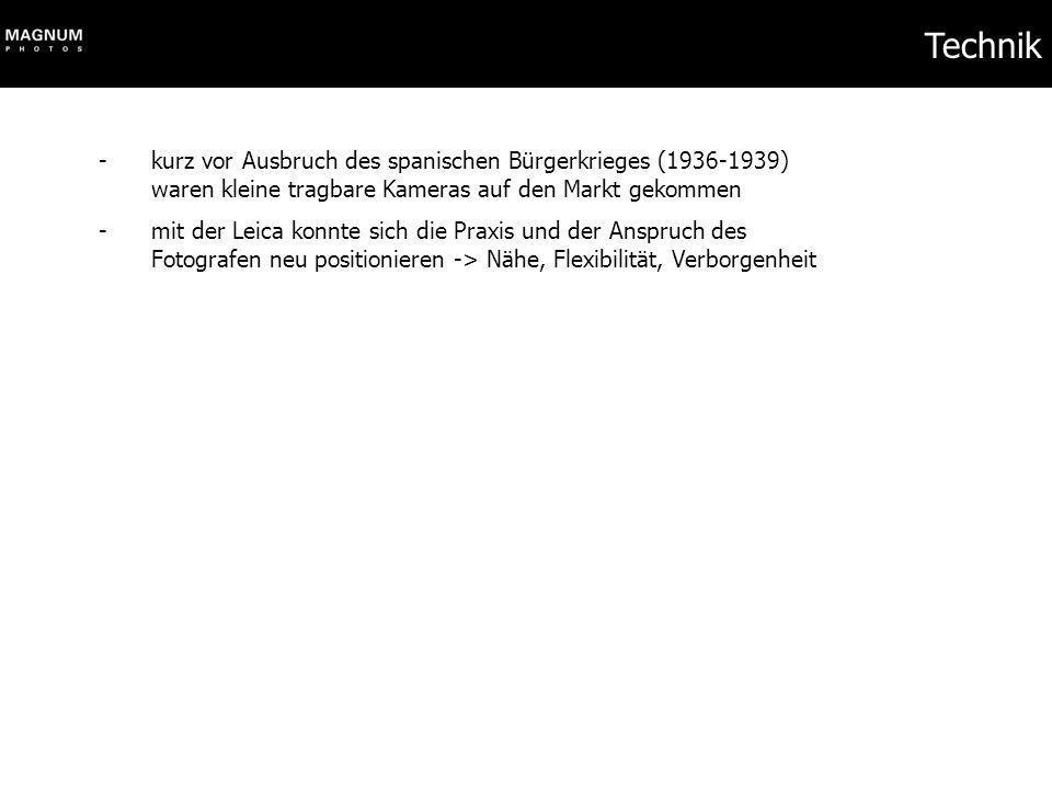 Robert Capa - 1913 als Endre Erno Friedmann in Ungarn geboren; jüdisch - Glücksspieler und Partyhengst - Initiator von Magnum, treibende Kraft beim Etablieren der Rechte für Fotografen - fotografiert in fünf Kriegen, stets in vorderster Front - starb 1954 in Indochina durch eine Landmiene - hinterlässt 70.000 Negative - renommierter Preis für Kriegsfotografen ist nach ihm benannt