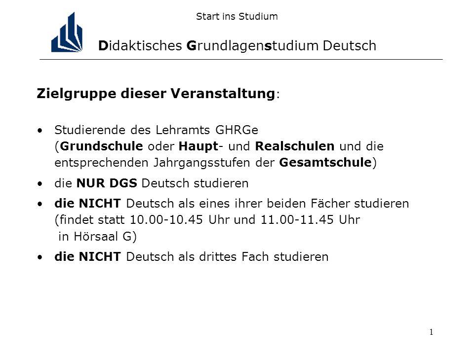 1 Start ins Studium Didaktisches Grundlagenstudium Deutsch Zielgruppe dieser Veranstaltung : Studierende des Lehramts GHRGe (Grundschule oder Haupt- u