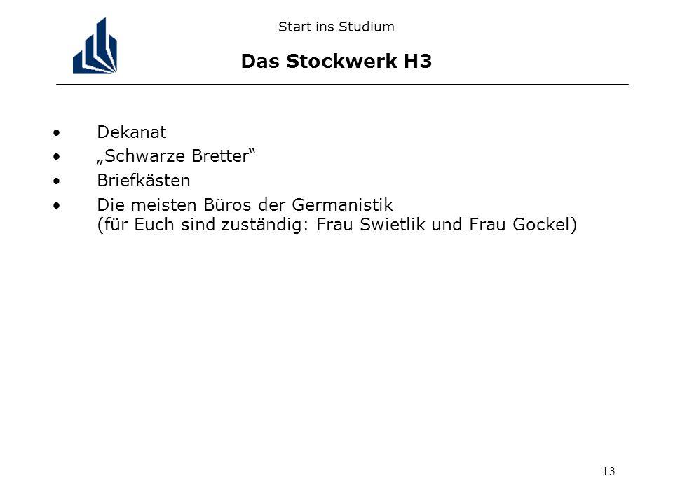 13 Start ins Studium Das Stockwerk H3 Dekanat Schwarze Bretter Briefkästen Die meisten Büros der Germanistik (für Euch sind zuständig: Frau Swietlik und Frau Gockel)