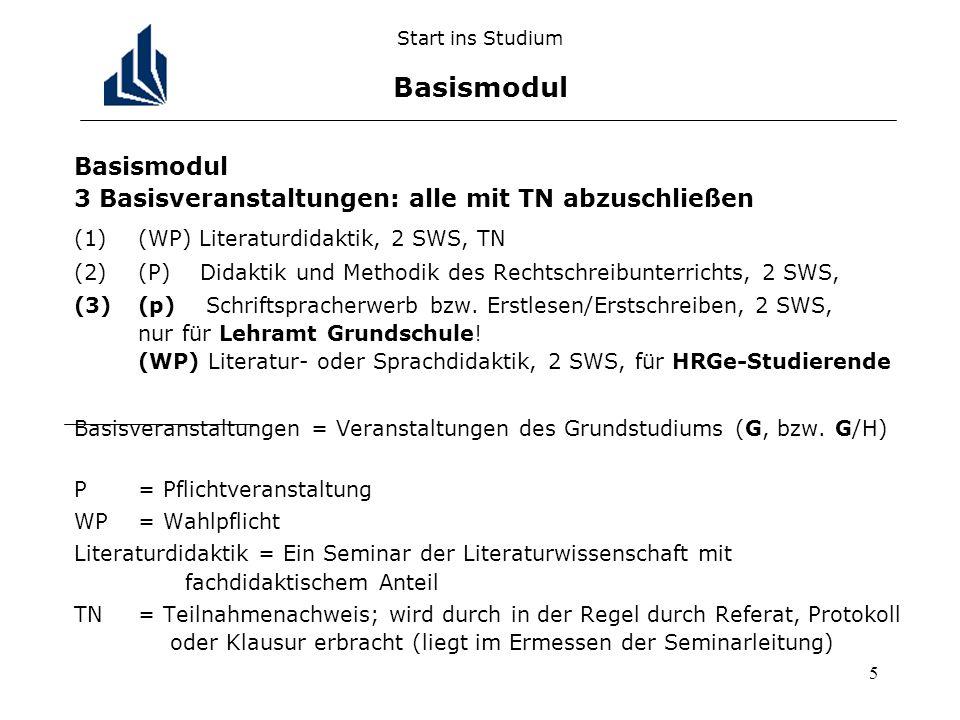 5 Start ins Studium Basismodul Basismodul 3 Basisveranstaltungen: alle mit TN abzuschließen (1)(WP) Literaturdidaktik, 2 SWS, TN (2)(P) Didaktik und M