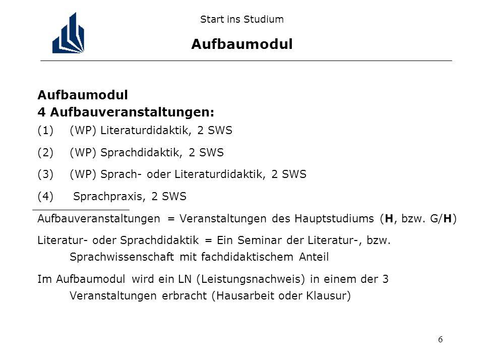 6 Start ins Studium Aufbaumodul Aufbaumodul 4 Aufbauveranstaltungen: (1)(WP) Literaturdidaktik, 2 SWS (2)(WP) Sprachdidaktik, 2 SWS (3)(WP) Sprach- od