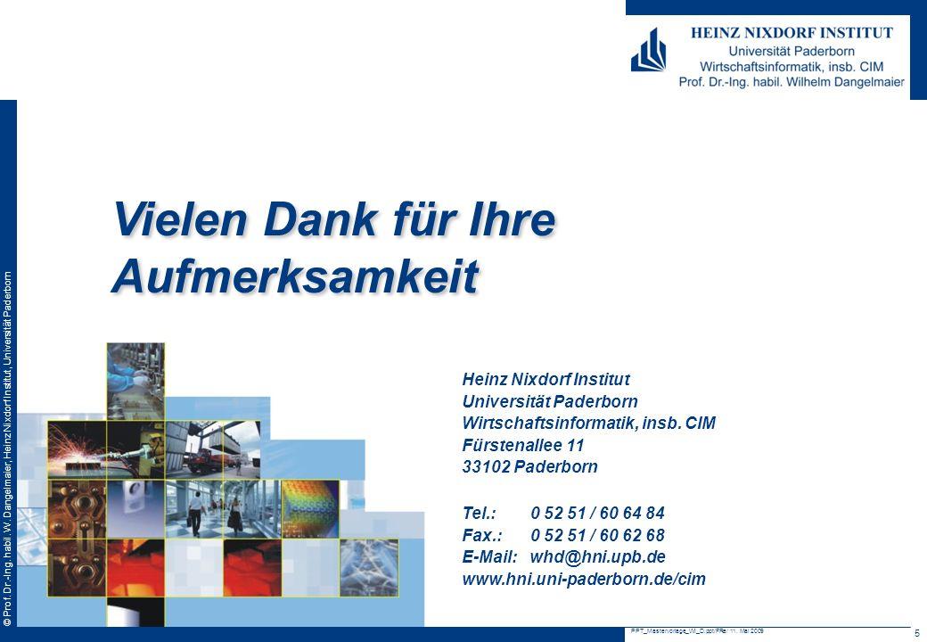 © Prof. Dr.-Ing. habil. W. Dangelmaier, Heinz Nixdorf Institut, Universität Paderborn PPT_Mastervorlage_WI_D.ppt/FRe/ 11. Mai 2009 5 Heinz Nixdorf Ins
