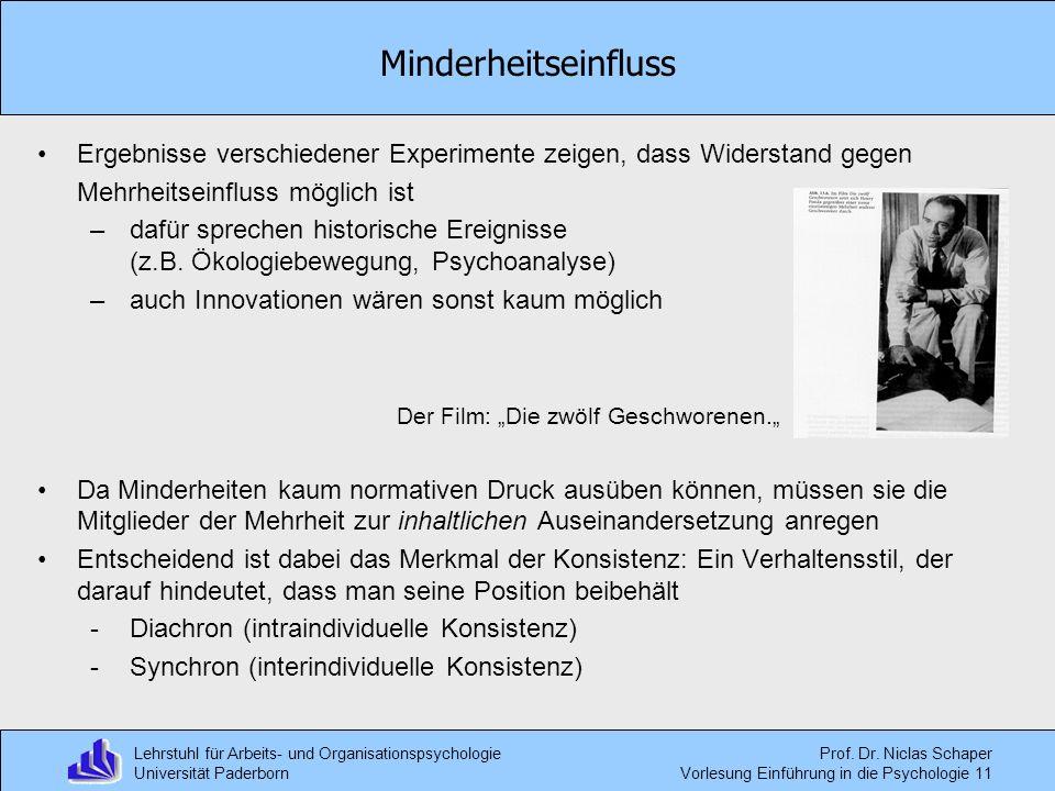 Lehrstuhl für Arbeits- und Organisationspsychologie Universität Paderborn Prof. Dr. Niclas Schaper Vorlesung Einführung in die Psychologie 11 Ergebnis
