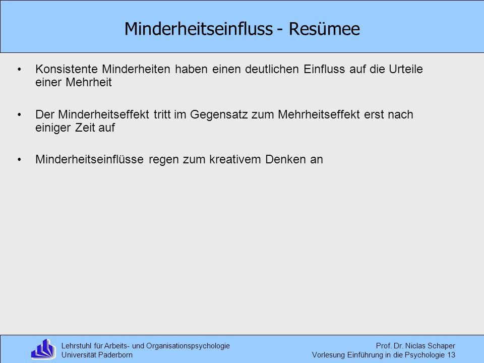 Lehrstuhl für Arbeits- und Organisationspsychologie Universität Paderborn Prof. Dr. Niclas Schaper Vorlesung Einführung in die Psychologie 13 Minderhe