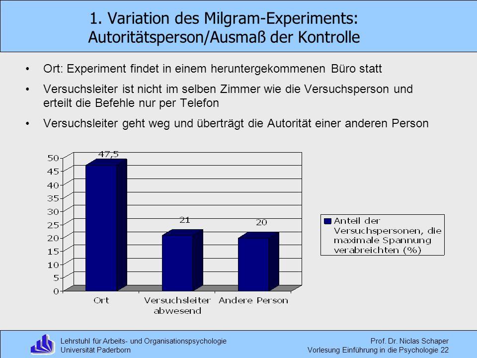 Lehrstuhl für Arbeits- und Organisationspsychologie Universität Paderborn Prof. Dr. Niclas Schaper Vorlesung Einführung in die Psychologie 22 1. Varia