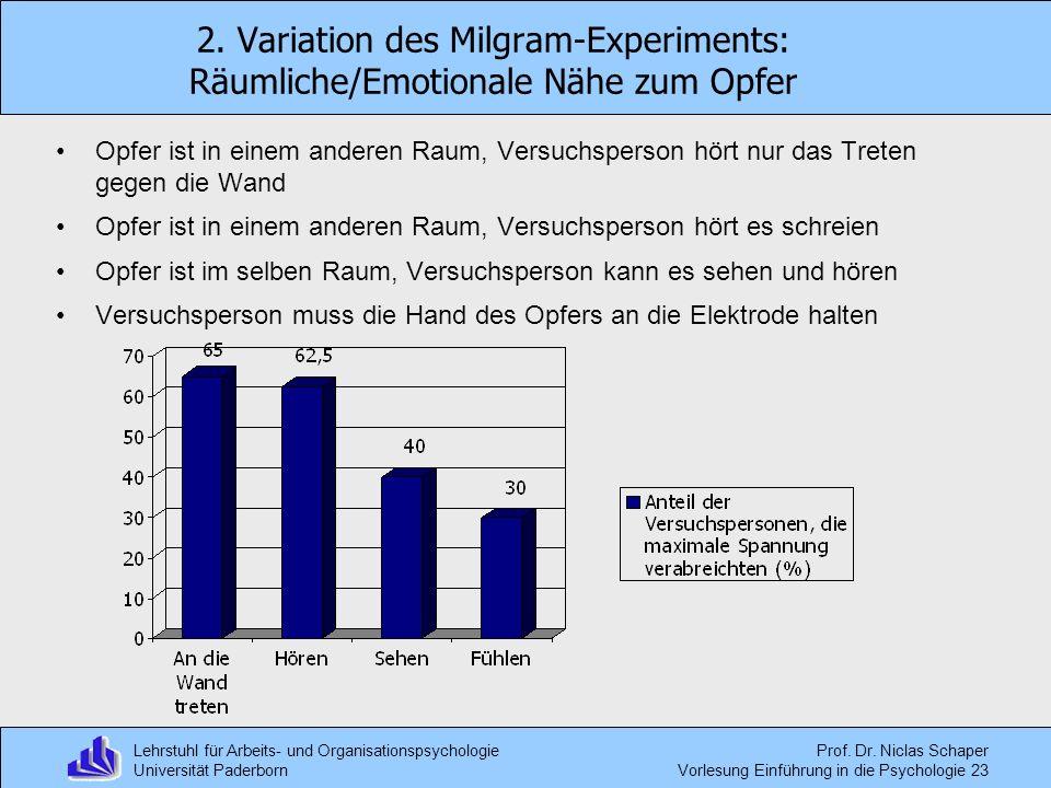 Lehrstuhl für Arbeits- und Organisationspsychologie Universität Paderborn Prof. Dr. Niclas Schaper Vorlesung Einführung in die Psychologie 23 2. Varia