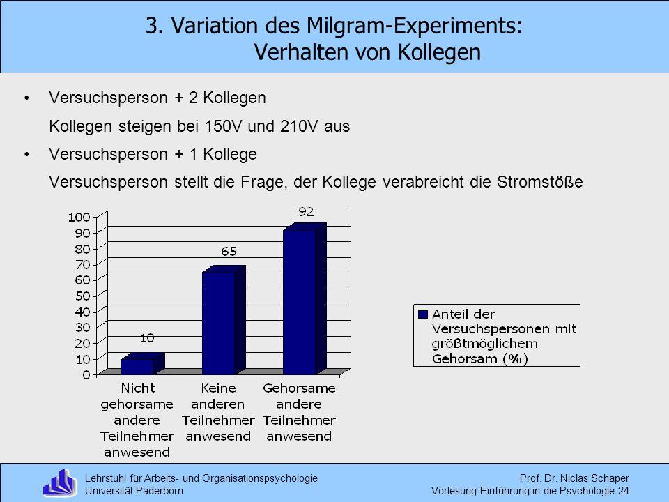 Lehrstuhl für Arbeits- und Organisationspsychologie Universität Paderborn Prof. Dr. Niclas Schaper Vorlesung Einführung in die Psychologie 24 3. Varia