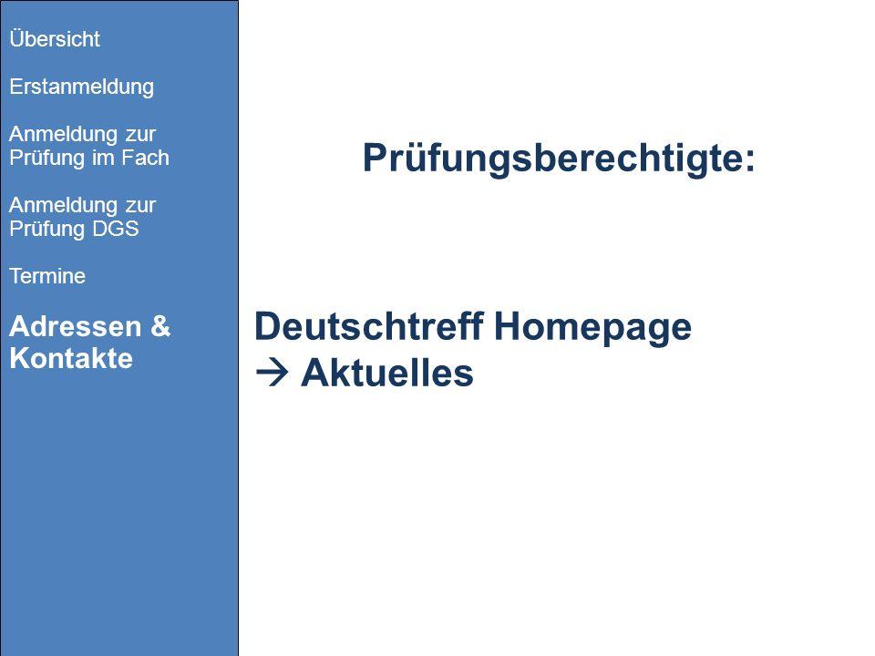Prüfungsberechtigte: Deutschtreff Homepage Aktuelles