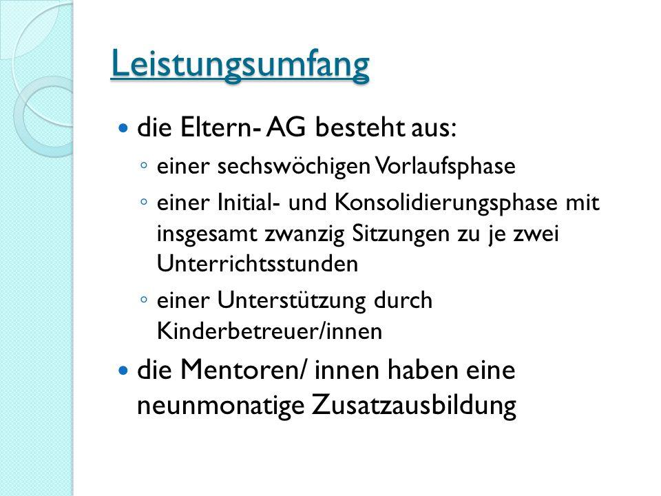 Leistungsumfang die Eltern- AG besteht aus: einer sechswöchigen Vorlaufsphase einer Initial- und Konsolidierungsphase mit insgesamt zwanzig Sitzungen