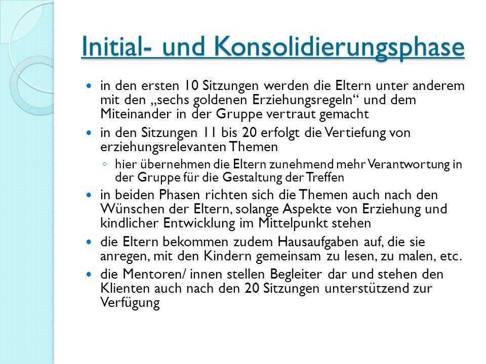 Initial- und Konsolidierungsphase in den ersten 10 Sitzungen werden die Eltern unter anderem mit den sechs goldenen Erziehungsregeln und dem Miteinand