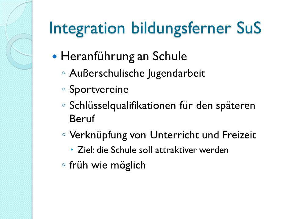 Integration bildungsferner SuS Heranführung an Schule Außerschulische Jugendarbeit Sportvereine Schlüsselqualifikationen für den späteren Beruf Verknü