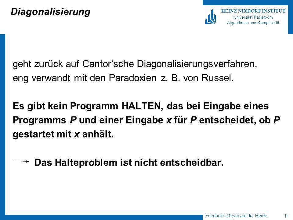 Friedhelm Meyer auf der Heide 11 HEINZ NIXDORF INSTITUT Universität Paderborn Algorithmen und Komplexität Diagonalisierung geht zurück auf Cantorsche Diagonalisierungsverfahren, eng verwandt mit den Paradoxien z.