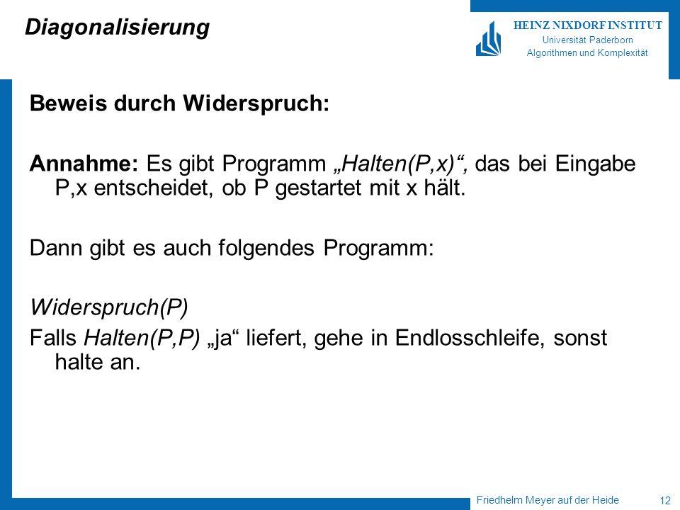 Friedhelm Meyer auf der Heide 12 HEINZ NIXDORF INSTITUT Universität Paderborn Algorithmen und Komplexität Diagonalisierung Beweis durch Widerspruch: Annahme: Es gibt Programm Halten(P,x), das bei Eingabe P,x entscheidet, ob P gestartet mit x hält.
