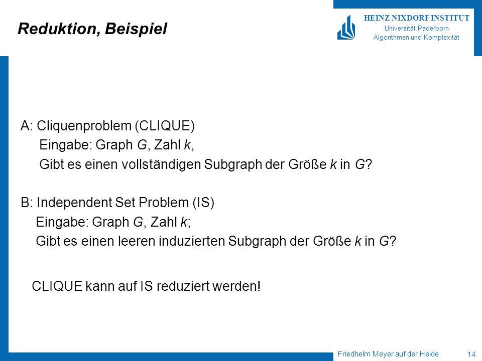 Friedhelm Meyer auf der Heide 14 HEINZ NIXDORF INSTITUT Universität Paderborn Algorithmen und Komplexität Reduktion, Beispiel A: Cliquenproblem (CLIQU