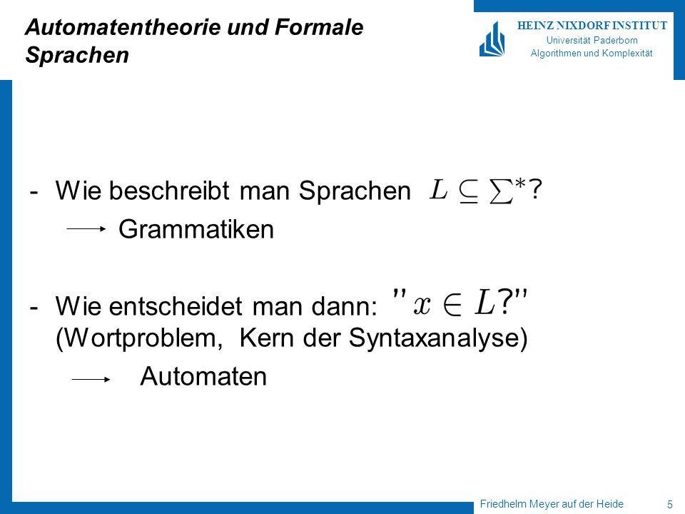 Friedhelm Meyer auf der Heide 5 HEINZ NIXDORF INSTITUT Universität Paderborn Algorithmen und Komplexität Automatentheorie und Formale Sprachen -Wie be