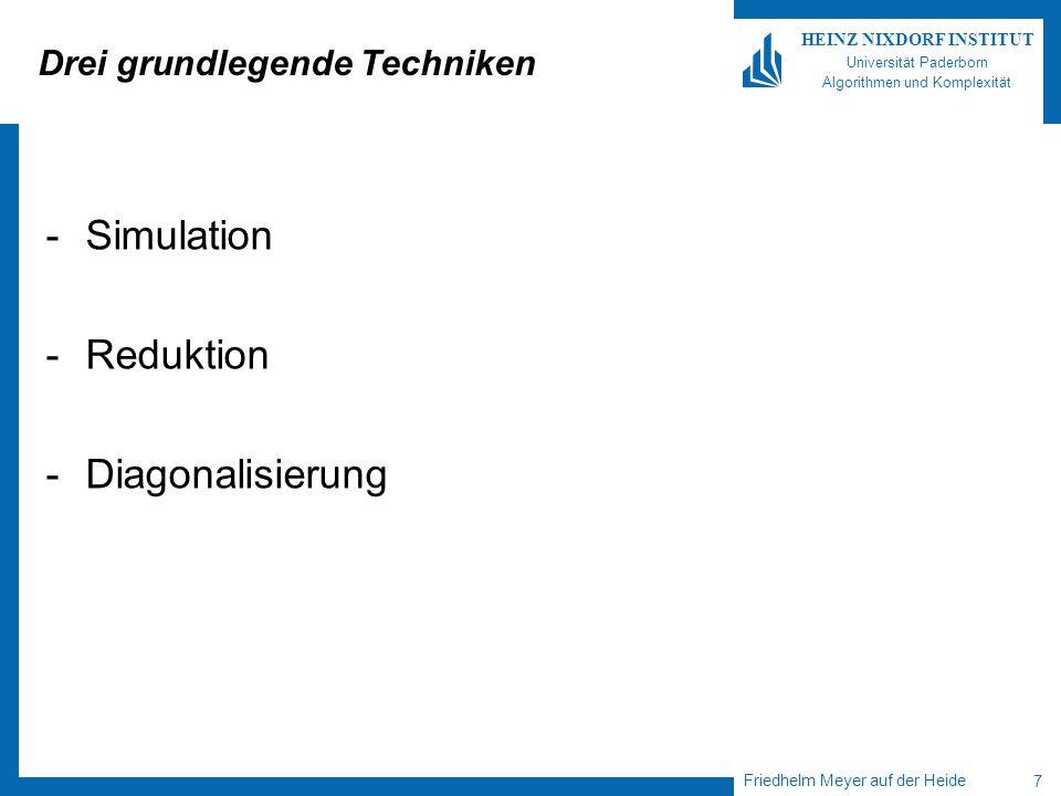 Friedhelm Meyer auf der Heide 7 HEINZ NIXDORF INSTITUT Universität Paderborn Algorithmen und Komplexität Drei grundlegende Techniken -Simulation -Reduktion -Diagonalisierung
