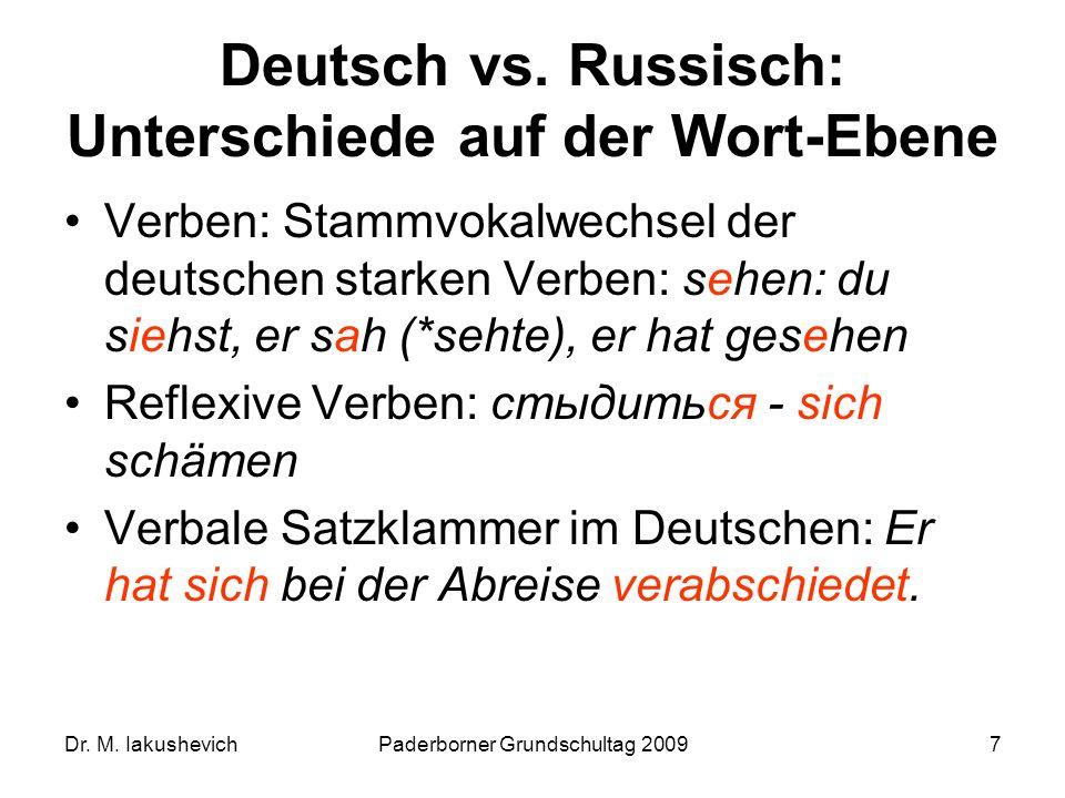 Dr. M. IakushevichPaderborner Grundschultag 20097 Deutsch vs. Russisch: Unterschiede auf der Wort-Ebene Verben: Stammvokalwechsel der deutschen starke