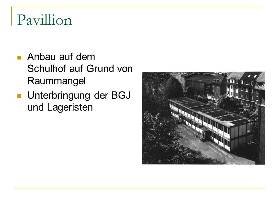 Pavillion Anbau auf dem Schulhof auf Grund von Raummangel Unterbringung der BGJ und Lageristen