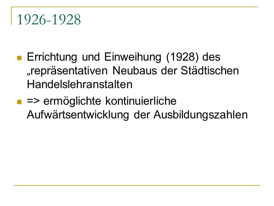 1926-1928 Errichtung und Einweihung (1928) des repräsentativen Neubaus der Städtischen Handelslehranstalten => ermöglichte kontinuierliche Aufwärtsent